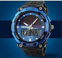 Мужские Спортивные Часы Skmei Solar Черные с синим (Код 076), фото 1