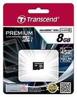 Карта памяти transcend premium microsdhc 8gb class 10 uhs-i (ts8gusdcu1)