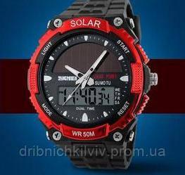 Мужские Спортивные Часы Skmei Solar Черные с красным(Код 076)