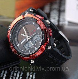 Спортивные Часы Skmei Solar Черные с красным(Код 076)