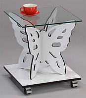 Кофейный столик SR-1122 WТ, стеклянный квадратный  столик на колесиках