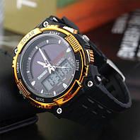 Мужские Спортивные Часы Skmei Solar Черные с золотым (Код 076)