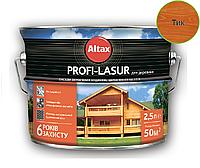 Лазурь-лак алкидный с воском ALTAX PROFI-LASUR для деревянных фасадов тик, 2,5л