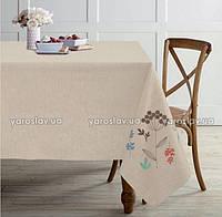 Скатерть льняная с вышивкой ТМ Ярослав, 150х175 см