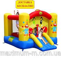"""Компактный детский надувной батут """"Веселый клоун"""" с горкой"""