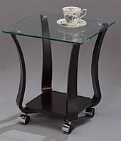 Кофейный столик SR-1123-W, квадратный столик со стеклянной столешницей, на колесиках