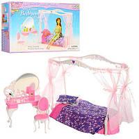 Мебель для кукол спальня, кровать с балдахином, столик-трюмо, стул, в корoбке