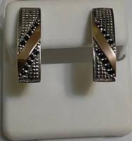 Серьги из серебра и золота с черным камнем Бейлиз