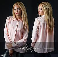 Рубашка с нагрудными карманами пудра