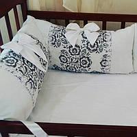 Бортики (подушки) в кроватку для новорожденных с хлопковой простынкой