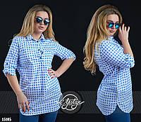 Удлинённая рубашка в принт виши голубая с белым