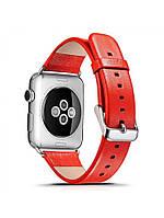 Ремешок I-Сarer для смарт-часов Apple Watch 38 мм Luxury Genuine Leather Series Red