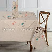 Набор из льняной скатерти ТМ Ярослав 150х225 и 8 салфеток с вышивкой 37х37