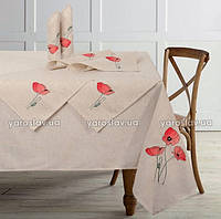 Набор из льняной скатерти ТМ Ярослав 150х150 и 4 салфетки с вышивкой 37х37