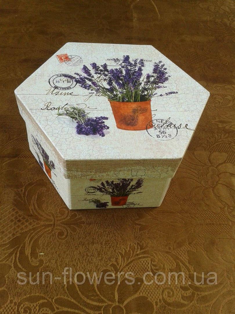 Коробка декоративная шестиугольная(лаванда)