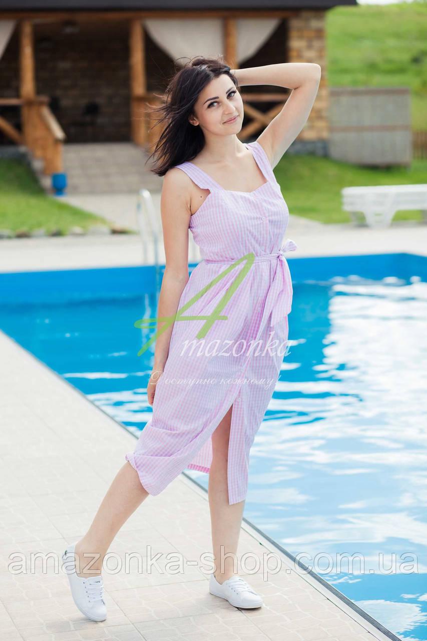 Легкое летнее платье с пояском - модель 2017  - Код пл-24