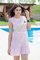 Женское летнее платье 2017 - кокетка (розовое)  - Код пл-21, фото 1