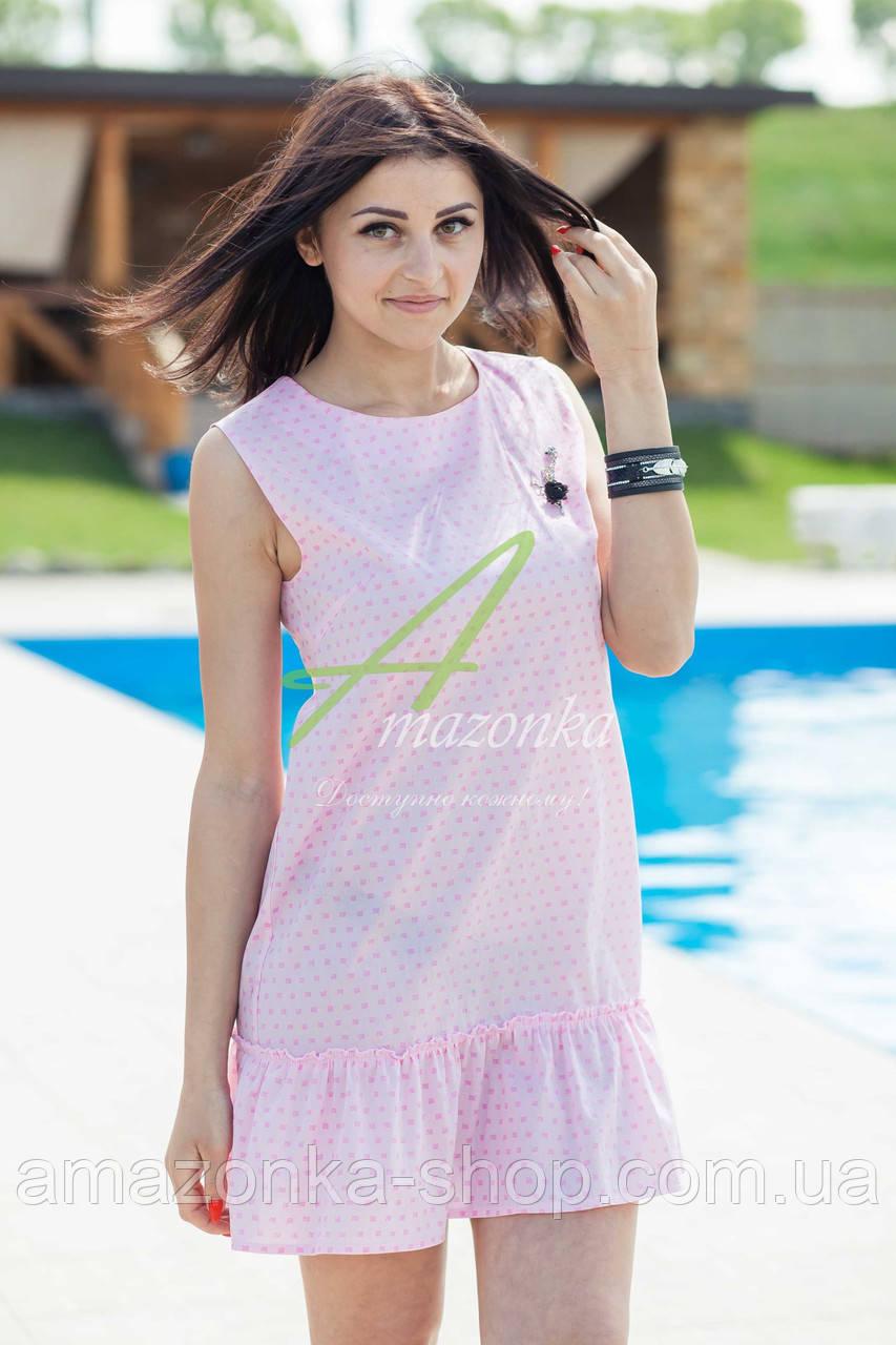 Женское летнее платье 2017 - кокетка (розовое)  - Код пл-21