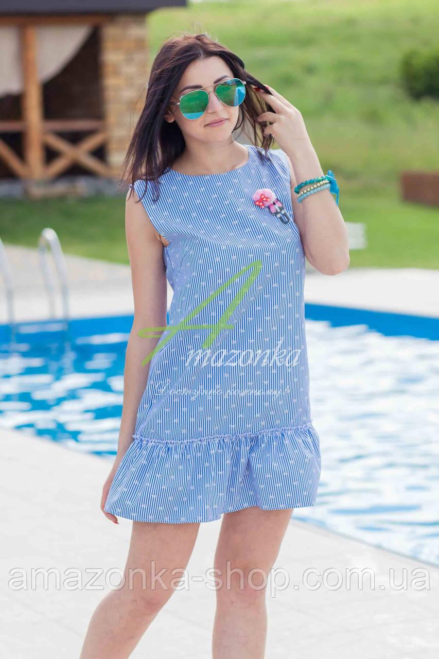 Женское летнее платье 2017 - кокетка (синее)  - Код пл-21