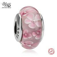 Серебряная подвеска-шарм Розовое Мурано 862 Пандора (Pandora) для браслета