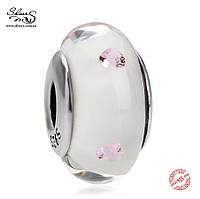 Серебряная подвеска-шарм Белое Мурано Пандора (Pandora) для браслета
