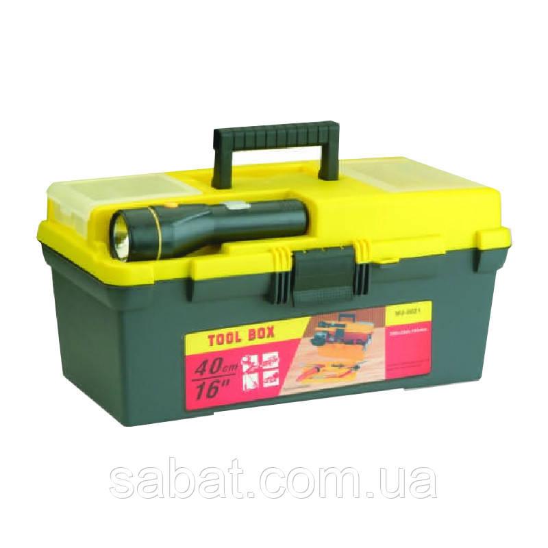 """Ящик для инструментов 16"""" с фонариком 395х220х200"""