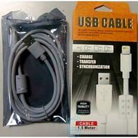 USB - Lightning шнур для iPhone 5S 1.5m с фильтром серый