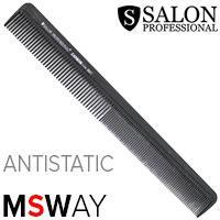 Salon Prof. Гребень Carbon Antistatic 0047 черный разнозубый 210мм