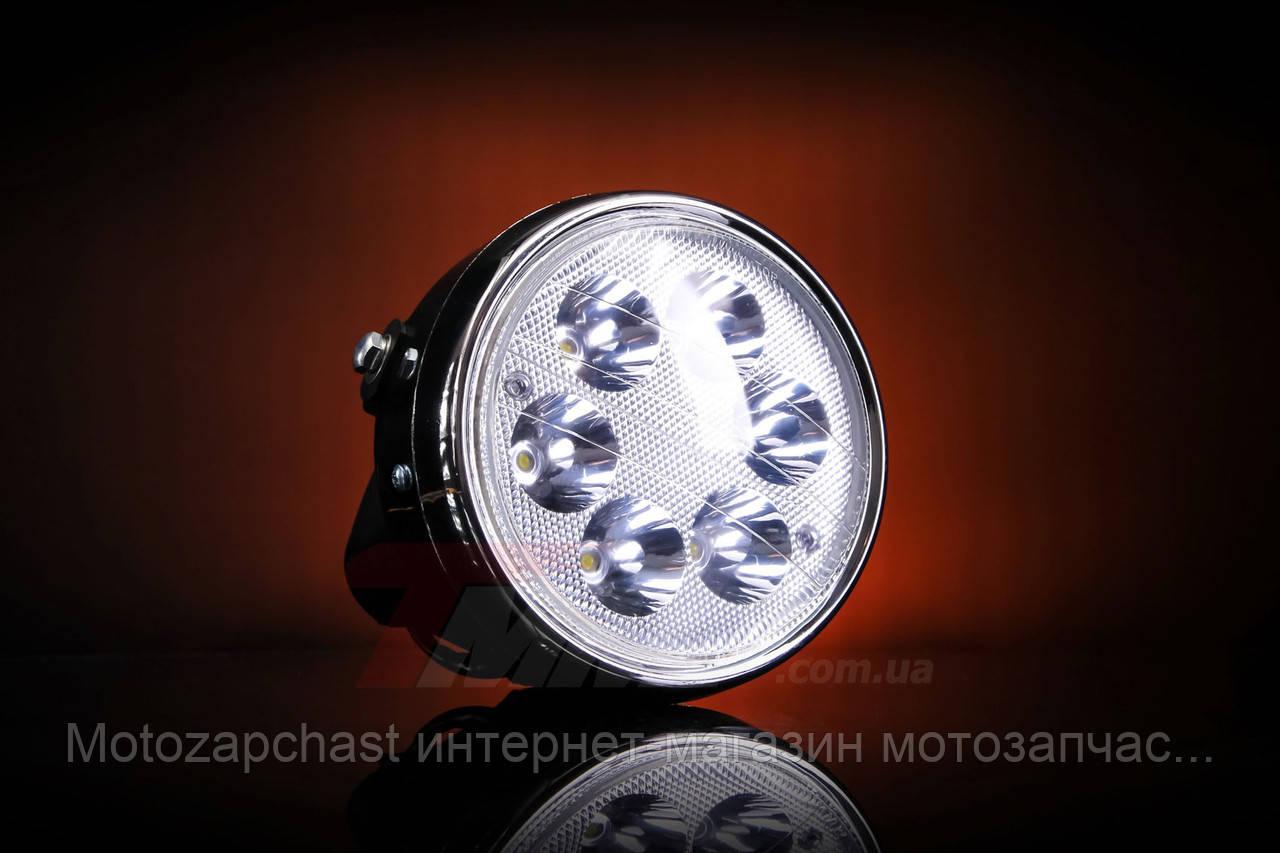 Фара светодиодная мопеда Дельта круглая  LED 6 диодов