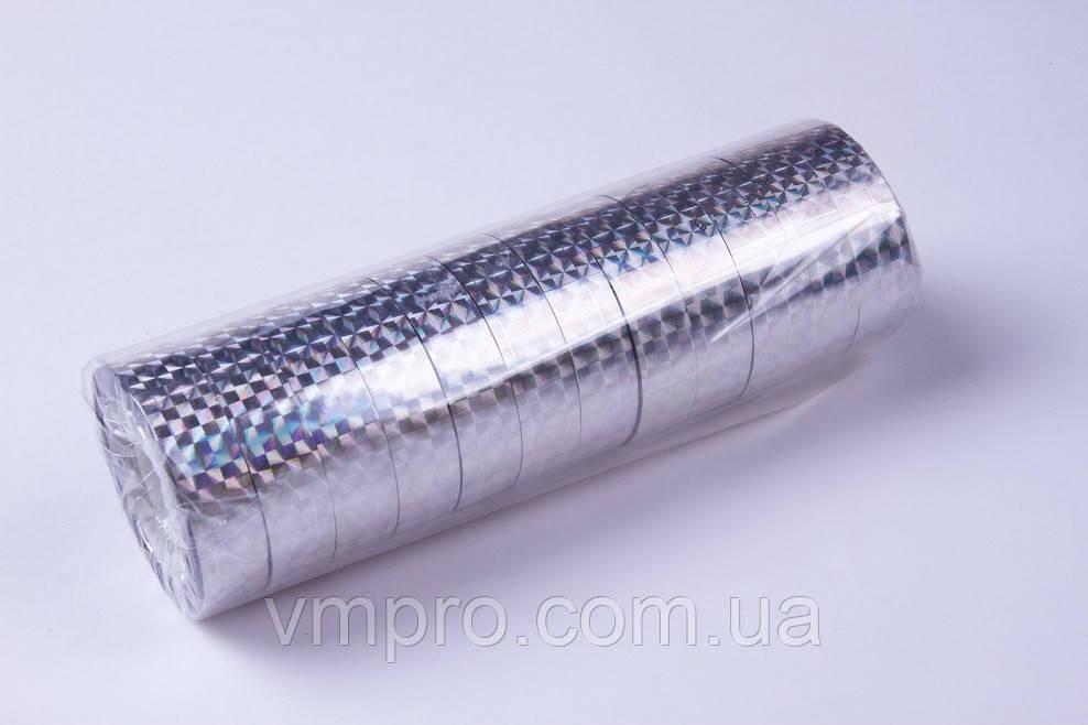 Скотч декоративний лазерний, срібло (12 mm×20 m,12 шт/упаковка)