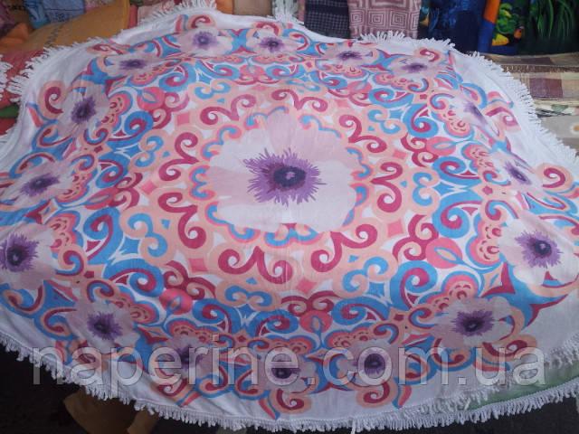 Круглое пляжное полотенце, для занятий йогой или для пикника.