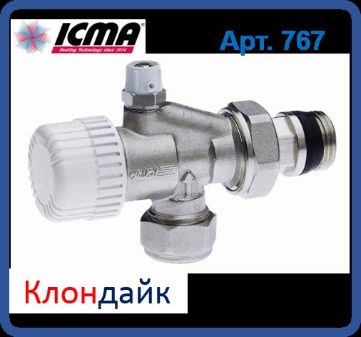 Icma 2-х кутова термостатичний вентиль з вбудованим відводом повітря.