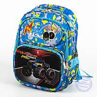 Школьный рюкзак для мальчика с жесткой спинкой и 3Д рисунком - голубой - 124