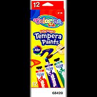 """Краски """"Темпера"""" (в тубе по 12 мл) 12 цветов, ТМ COLORINO, 68420"""