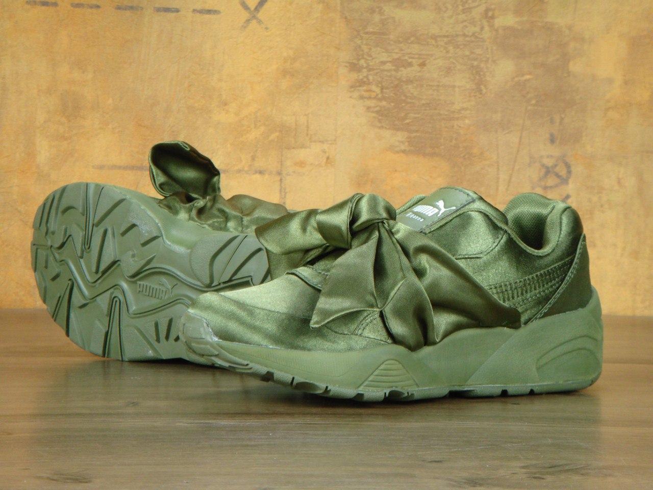 Кроссовки женские Fenty By Rihanna Bow Sneaker Pink 30465 темно-зеленые
