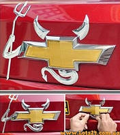 Злая машина - наклейка на логотип авто (рожки, хвост, вилка трезубец на значок)
