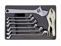 Набор для тележки ключи накидные+разводной ключ 8пр. King Tony 9-90109MN