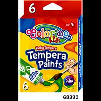 """Краски """"Темпера"""" (в тубе по 12 мл) 6 цветов, ТМ COLORINO, 68390"""