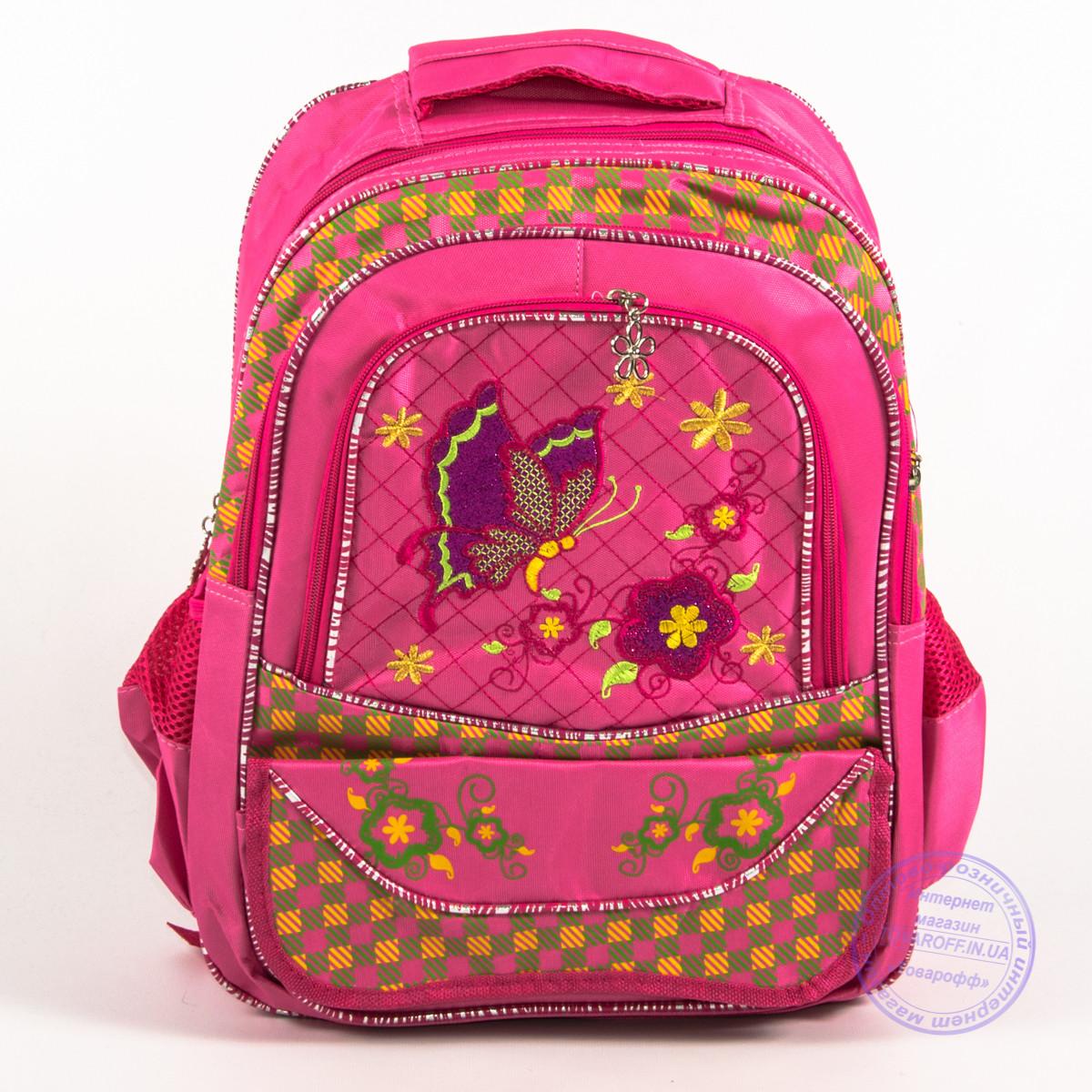 Школьный рюкзак для девочек с бабочкой - розовый - 147
