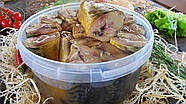 Скумбрия холодного копчения кусочки в масле. Ведро 3 кг, фото 3