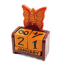 """Календарь настольный """"Бабочка"""" дерево коричневая15х10х5см (30284C)"""