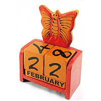 """Календарь настольный """"Бабочка"""" дерево красная15х10х5см (30284)"""