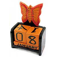 """Календарь настольный """"Бабочка"""" дерево черная15х10х5см (30284B)"""