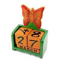 """Календарь настольный """"Бабочка"""" дерево зеленая15х10х5см (30284A)"""
