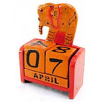 """Календарь настольный """"Слон"""" дерево красный 15х10х5см (29637B)"""