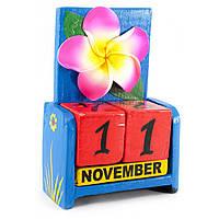 """Календарь настольный """"Цветок"""" дерево черный 15х10х5см (29906B)"""