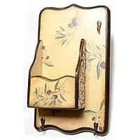 """Ключница вешалка """"Оливка"""", с ящиком, массив дерева 34х20см (30361)"""