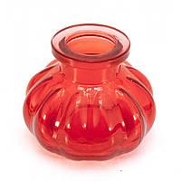 Колба для кальяна стекло красная 8х10х10см внутренний d-4см (22397)