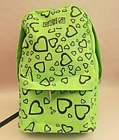 Рюкзак для подростков с принтом сердца, салатовый