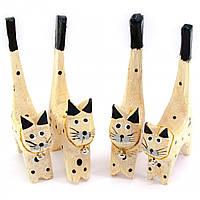 Кошки деревянные кольцедержатели 4шт 11х5х7,5см цена за набор F (29854F)